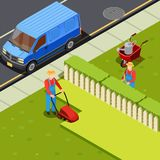 Mowing Lawn Isometric Composition. Gardener isometric composition with minivan car and two gardener figures with cutter scissors and grass mower vector Royalty Free Stock Photos