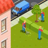 City Gardeners Isometric Composition. Gardener isometric composition with urban scenery and residential building with car and group of gardeners in uniform Stock Image