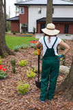 Gardener keeping spade Royalty Free Stock Photos