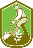 Gardener Landscaper Digging Shovel Cartoon Stock Photography