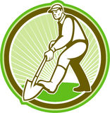 Gardener Landscaper Digging Shovel Circle Stock Images