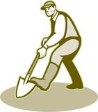 Gardener Landscaper Digging Shovel Retro Stock Images