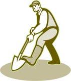 Gardener Landscaper Digging Shovel Retro. Illustration of male gardener landscaper horticulturist with shovel spade facing front digging done in retro style Stock Images