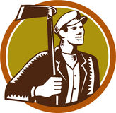 Gardener Landscaper Grub Hoe Woodcut. Illustration of male gardener landscaper horticulturist holding grub hoe looking to the side set inside circle on Royalty Free Stock Photography