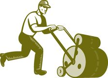 Gardener Landscaper Pushing Lawn Roller Retro Royalty Free Stock Photos