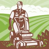 Gardener Landscaper Riding Lawn Mower Retro. Illustration of a gardener landscaper riding ride-on lawn mower mowing done in retro woodcut style Stock Photography