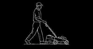 Gardener Lawn Mower Mowing 2D Animation stock footage