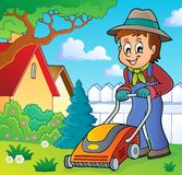 Gardener with lawn mower theme image 2 royalty free illustration
