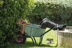 Man sleeping on wheelbarrow, gardener resting in shadow Stock Images