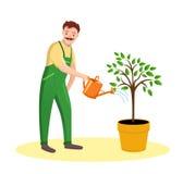 Gardener Man on white background. Illustration Farmer watering the tree. Royalty Free Stock Photos