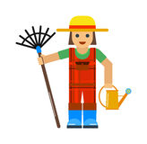 Gardener man worker with sprinkle and rake manual grass yard equipment vector illustration. Royalty Free Stock Photo