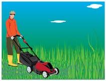 Gardener mowing grass. Design Royalty Free Stock Photography