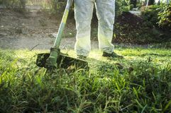 Gardener mowing the grass with lawn mower in the park. He wears Personal protective equipment PPE Stock Photo