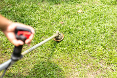 Gardener mowing the grass. With petrol weed trimmer Royalty Free Stock Images