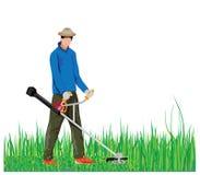 Gardener mowing grass. Vector design Royalty Free Stock Images