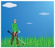 Gardener mowing grass. Vector design Stock Photos