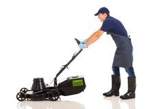 Gardener mowing Stock Image