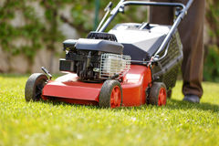 Gardener mowing the lawn Stock Photo