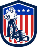 Gardener Mowing Lawn Mower Flag Retro. Illustration of male gardener mowing with lawn mower in american flag stars stripes set inside a shield done in retro Royalty Free Stock Photography
