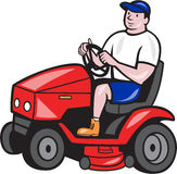 Gardener Mowing Rideon Lawn Mower Cartoon. Illustration of male gardener riding mowing with ride-on lawn mower facing side done in cartoon style on isolated Royalty Free Stock Photography
