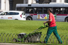 Gardener mowing worker (Piazza Venezia - Roma) Royalty Free Stock Photography