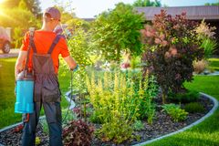 Gardener with Pests Spray Royalty Free Stock Image