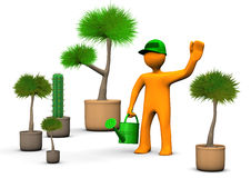 Gardener With Plants. Orange cartoon character gardener with plants on the white background Royalty Free Stock Photo