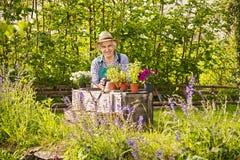 Gardener Plants Garden Straw hat Royalty Free Stock Photography