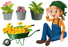Gardener with potted plants and flowers Stock Photos