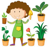 Gardener with potted plants Stock Images