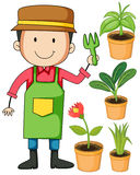 Gardener and potted plants. Illustration Stock Images
