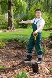 Gardener presenting his garden Stock Images