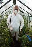 Gardener in protective clothing Stock Images