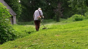 Gardener with protective mask trimming grass. Zoom out. stock footage