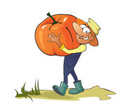 Gardener  With A Pumpkin Royalty Free Stock Photo