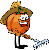 Gardener pumpkin with rake Royalty Free Stock Photo