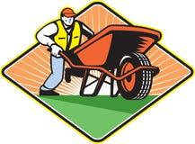 Gardener Pushing Wheelbarrow Retro Stock Image