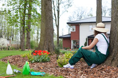 Gardener resting after work Royalty Free Stock Image