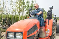 Gardener rides on the tractor at garden store stock photo