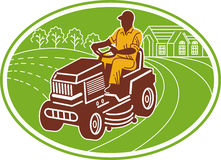 Gardener riding lawn mower. Illustration of a male gardener riding lawn mower set inside an oval Royalty Free Stock Photography