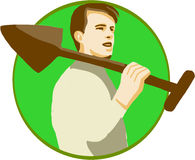 Gardener Shovel On Shoulder Circle Retro Royalty Free Stock Photos