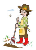 Gardener with spade. Person working in the garden Royalty Free Illustration