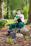 Gardener with a spade Royalty Free Stock Photography