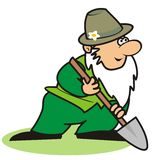 Gardener and spade Stock Photos