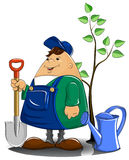Gardener with spade watering can and tree. Vector illustration Royalty Free Stock Photography