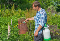 Gardener with sprinkler 4 Royalty Free Stock Images