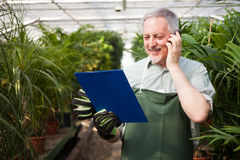 Gardener talking on the phone Stock Images