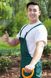 Gardener with thumb up Stock Photos