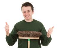 Gardener with a thumbs up sign Stock Photo