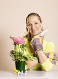 Gardener with tools Royalty Free Stock Image